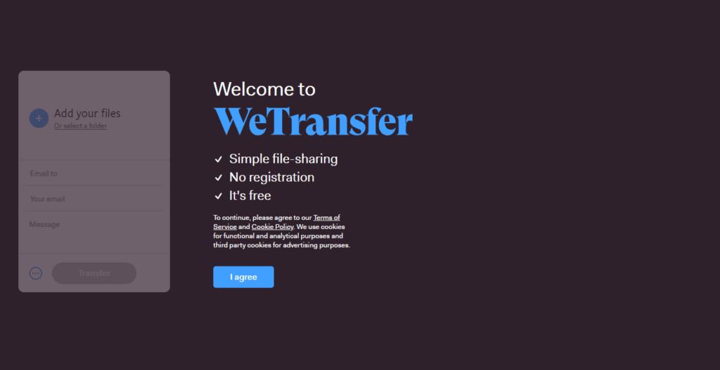 wetransfer supporto