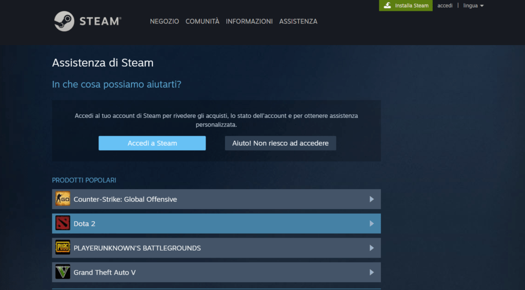 supporto Steam